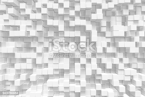 istock White geometric cube, cubical, boxes, squares form abstract background. Abstract white blocks. Template background for your design, 3d rendering 943786684