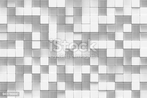 istock White geometric cube, cubical, boxes, squares form abstract background. Abstract white blocks. Template background for your design, 3d rendering 943786692