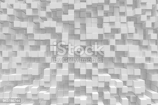 istock White geometric cube, cubical, boxes, squares form abstract background. Abstract white blocks. Template background for your design, 3d rendering 943786744