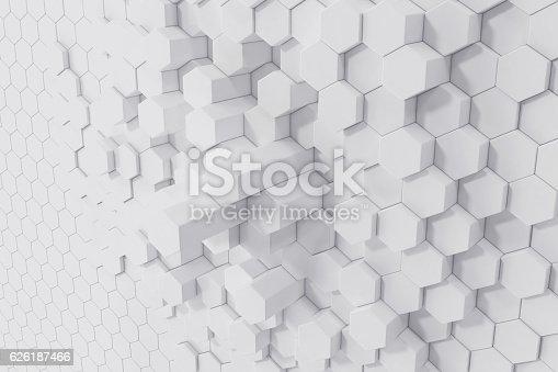 istock White geometric hexagonal abstract background. 3d rendering 626187466