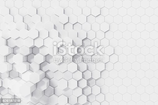 istock White geometric hexagonal abstract background. 3d rendering 626187518