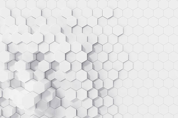 white geometric hexagonal abstract background. 3d rendering - geometry stock photos and pictures
