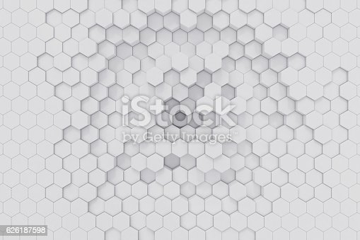 626187518istockphoto White geometric hexagonal abstract background. 3d rendering 626187598