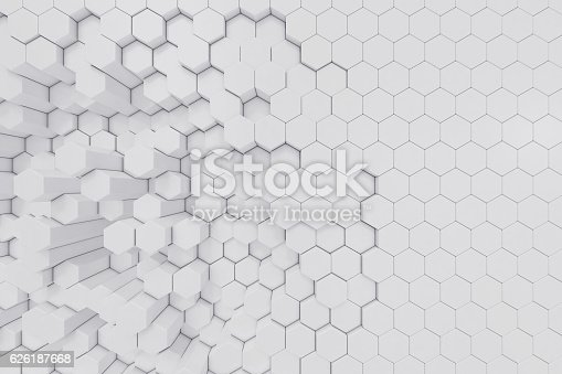 626187518istockphoto White geometric hexagonal abstract background. 3d rendering 626187668
