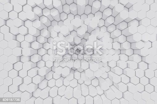 istock White geometric hexagonal abstract background. 3d rendering 626187736