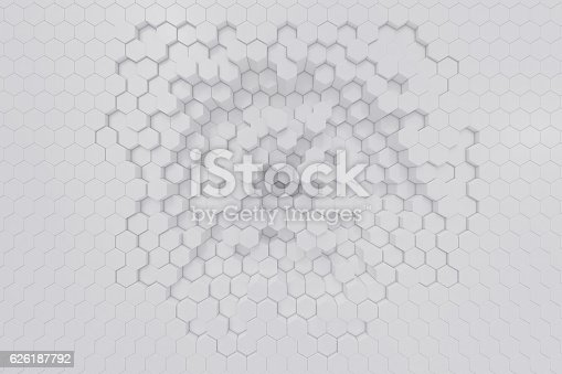 istock White geometric hexagonal abstract background. 3d rendering 626187792