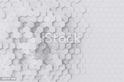 istock White geometric hexagonal abstract background. 3d rendering 626187908