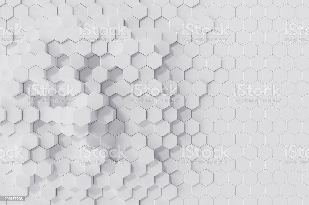 White geometric hexagonal abstract background. 3d rendering - foto de acervo