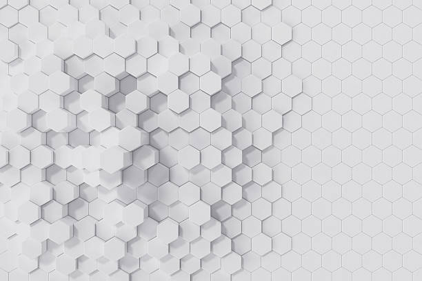 White geometric hexagonal abstract background. 3d rendering stock photo