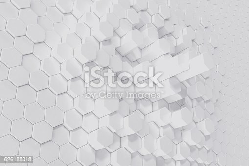 626187518istockphoto White geometric hexagonal abstract background. 3d rendering 626188018