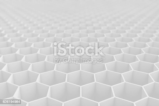 1003112152 istock photo White geometric hexagonal abstract background. 3d rendering 626194984