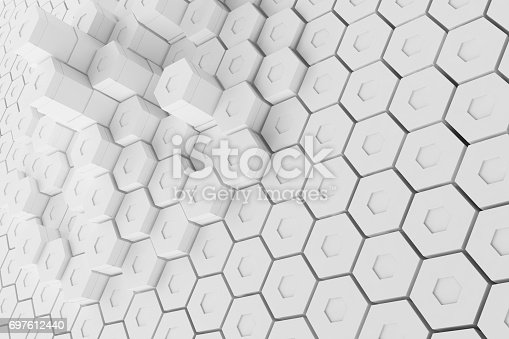 626187518istockphoto White geometric hexagonal abstract background, 3d rendering 697612440