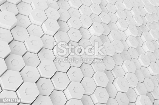 626187518istockphoto White geometric hexagonal abstract background, 3d rendering 697612448