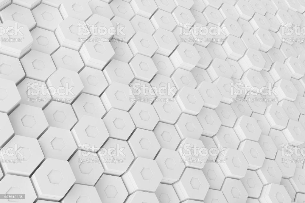 White geometric hexagonal abstract background, 3d rendering stock photo