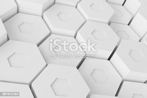 626187518istockphoto White geometric hexagonal abstract background, 3d rendering 697612454