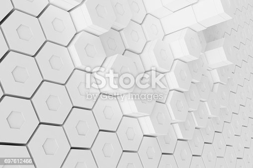 626187518istockphoto White geometric hexagonal abstract background, 3d rendering 697612466