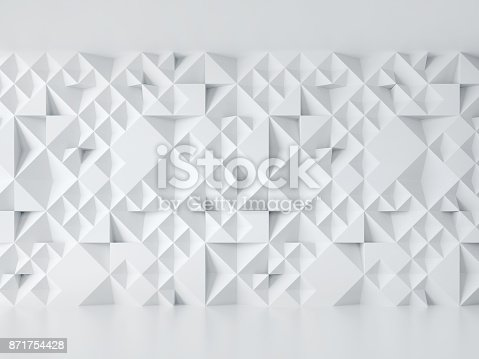 istock White geometrical abstract 3d background isolated illustration 871754428