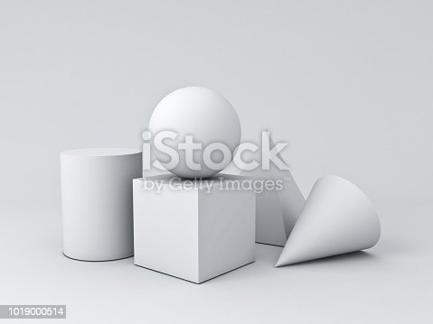 istock White Geometry 3D Graphic Shapes Cube Pyramid Cone Cylinder Sphere isolated on white background with shadows 3D rendering 1019000514