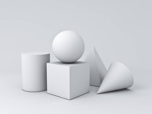 Blanca geometría 3D gráfico formas cubo pirámide cono cilindro esfera aislada sobre fondo blanco con Render 3D y sombras - foto de stock