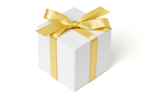 White Gift Box and Gold Bow stock photo