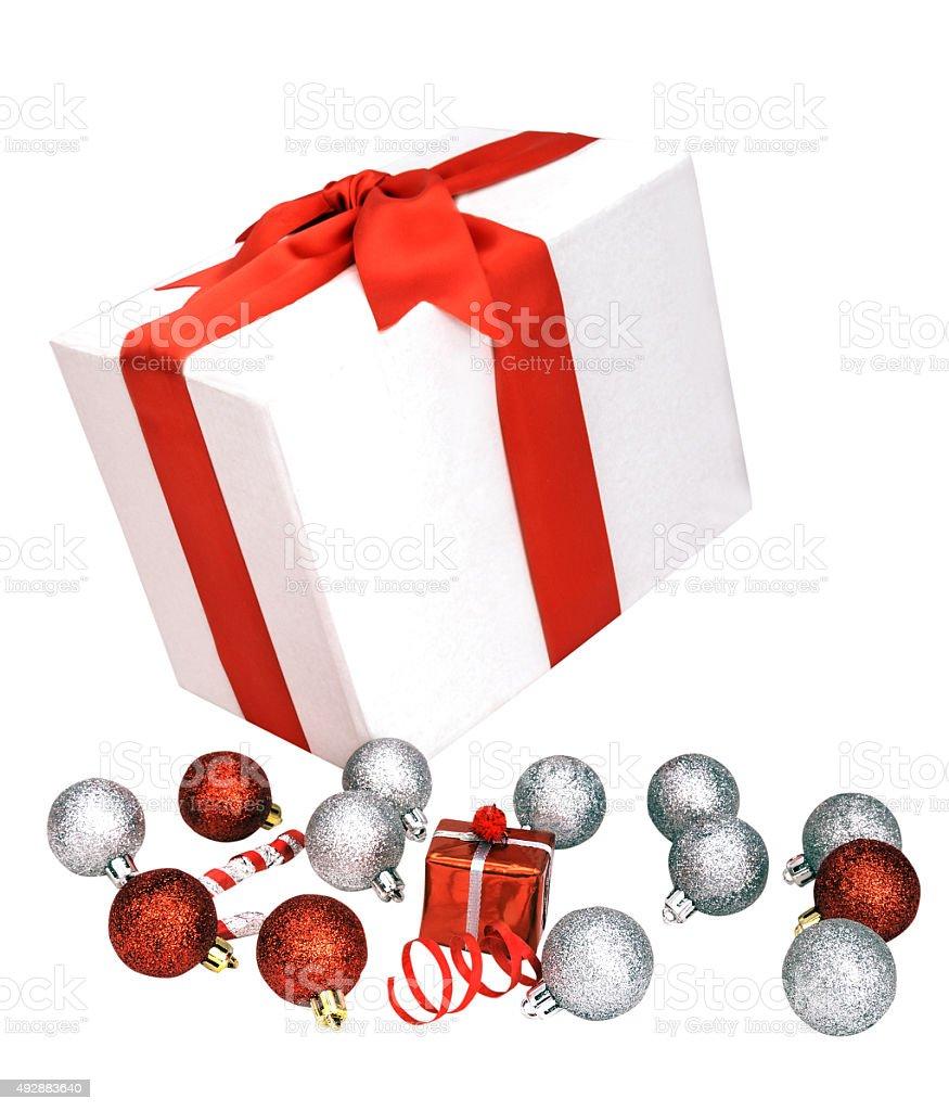white gift box and toys stock photo