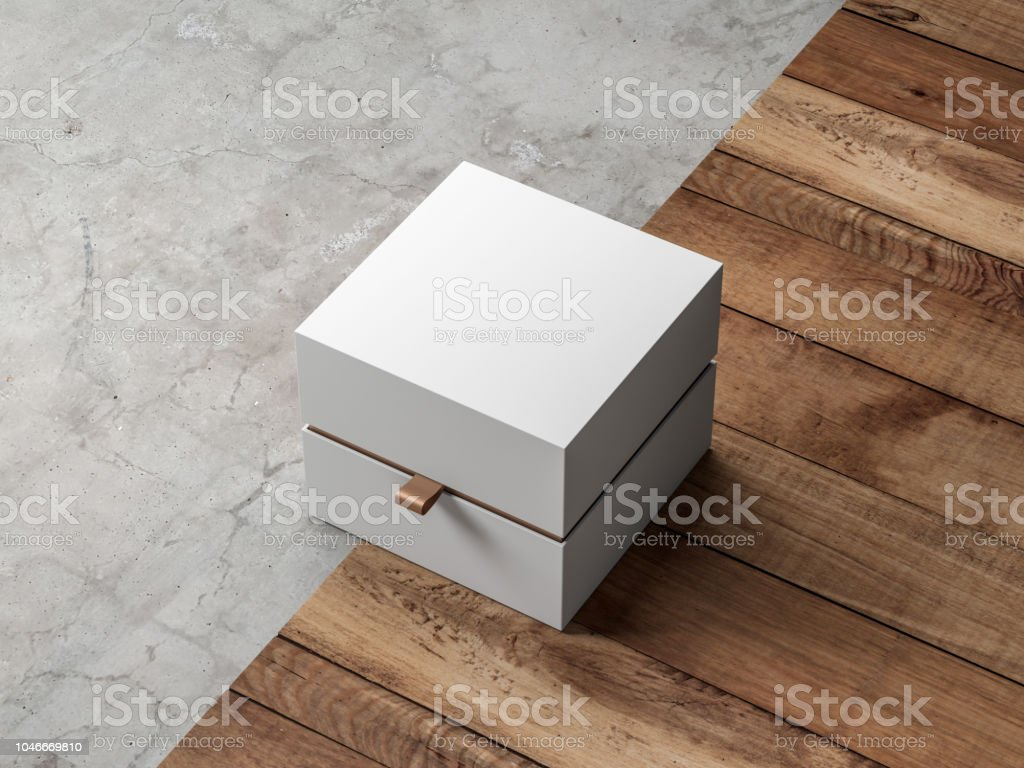 e49120f7c85f White gift Box packaging Mockup with golden hack Half Side View on modern  floor - Stock image .