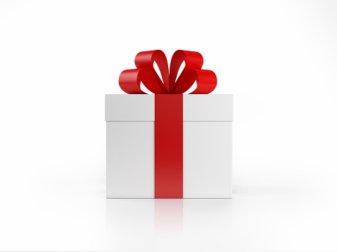 Realistic 3D render of a white gift box tied with a red satin ribbon. Isolated on white background. Clipping path is included.