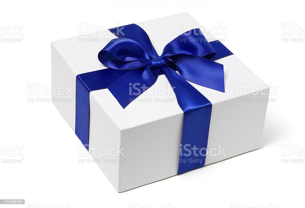 White Gift Box with Blue Satin Bow stock photo