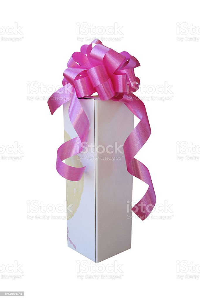 White gift box with pink ribbon bow royalty-free stock photo