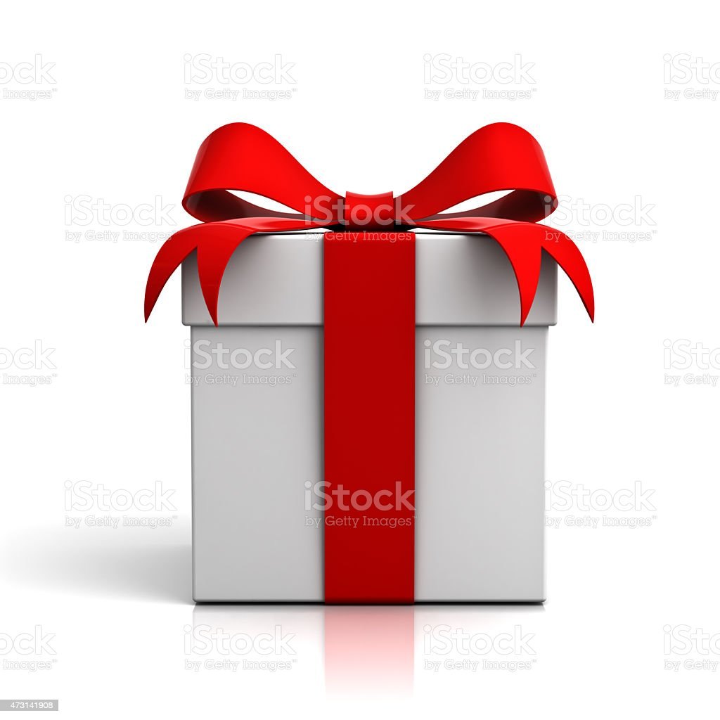 White gift box with red ribbon tied in a bow stock photo