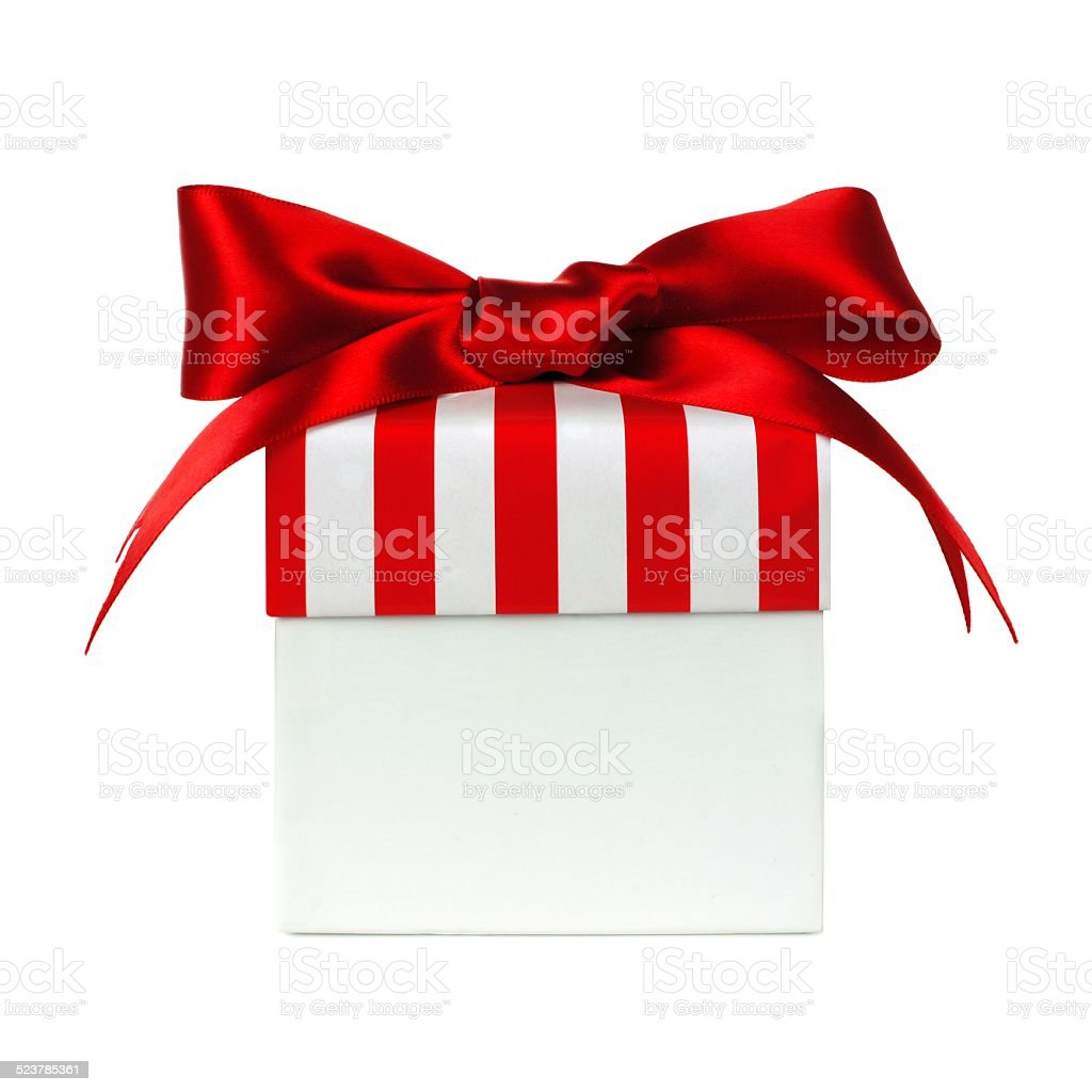 White gift box with red striped lid isolated stock photo