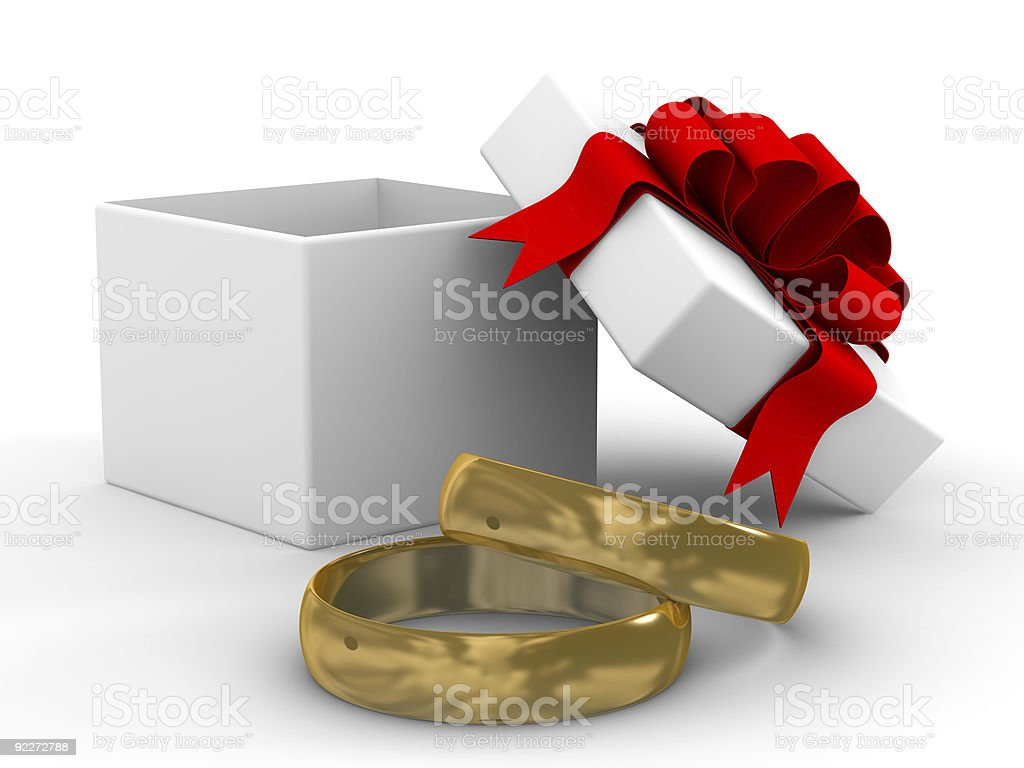 White gift box with rings. 3D image royalty-free stock photo