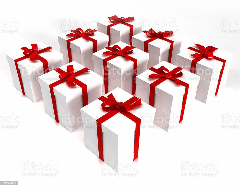 White gift boxes in a square royalty-free stock photo