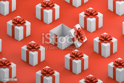 3d render Gift Boxes with isometric projection. Minimal Christmas, Party concept.