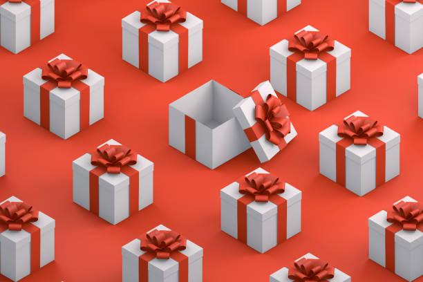 Weiße Geschenkboxen mit Red Ribbon Minimal 3d Design, Isometrische Ansicht – Foto