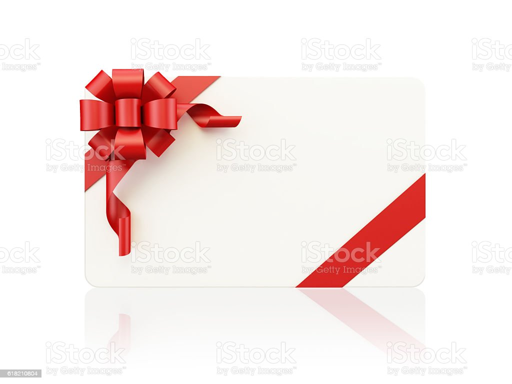 White Gift Card with Red Bow Tie on White Background stock photo
