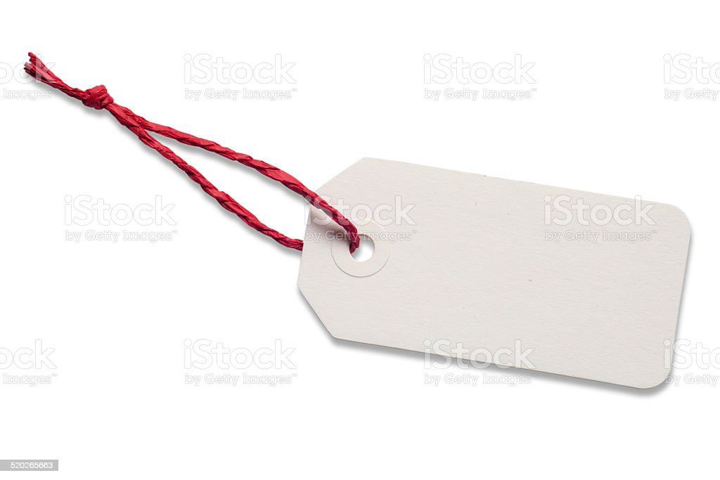 White Gift Tag with Red Raffia Ribbon stock photo
