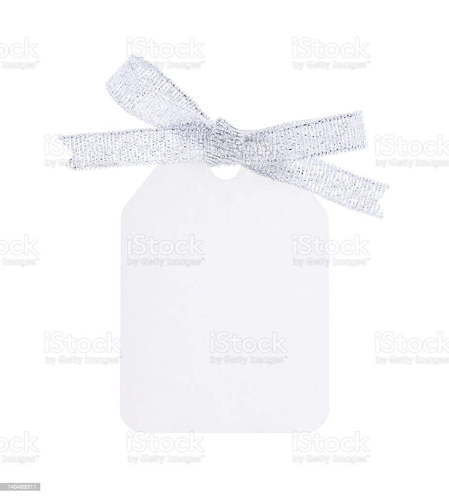 white gift tag with silver bow royalty-free stock photo