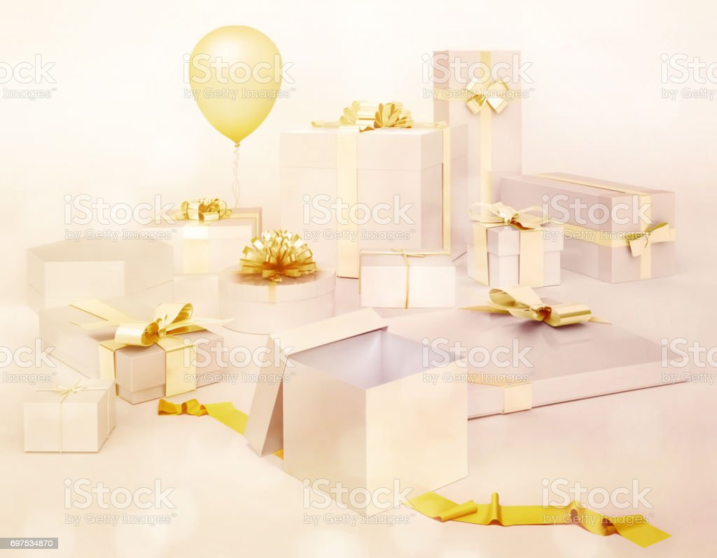 White gifts boxes with golden bows, balloon isolated on white background. stock photo