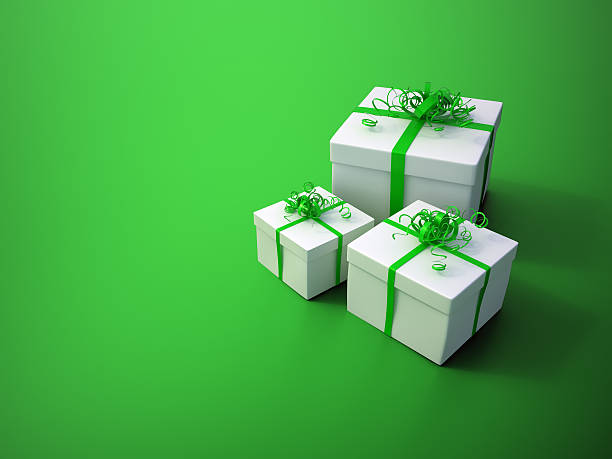 White gifts with green ribbons stock photo