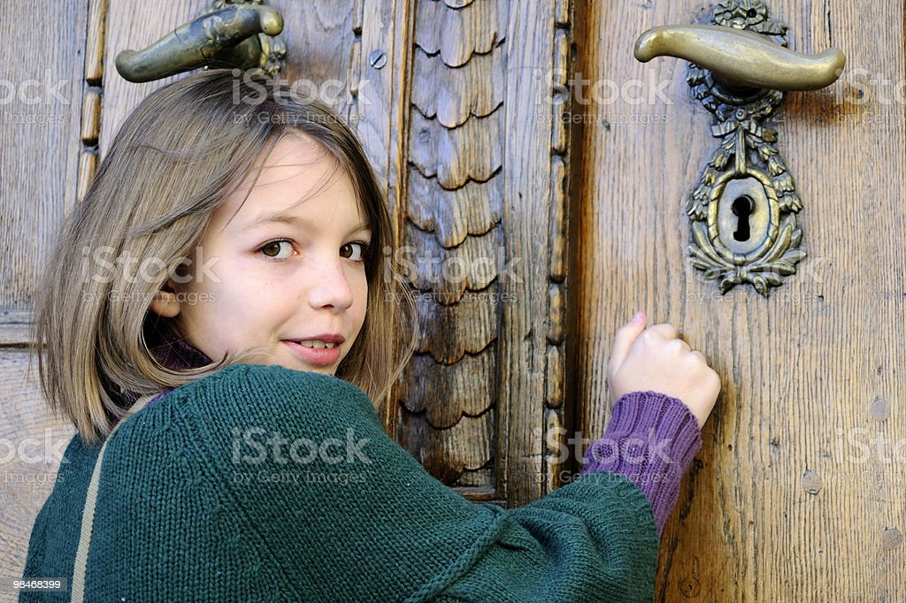 white girl knocking royalty-free stock photo