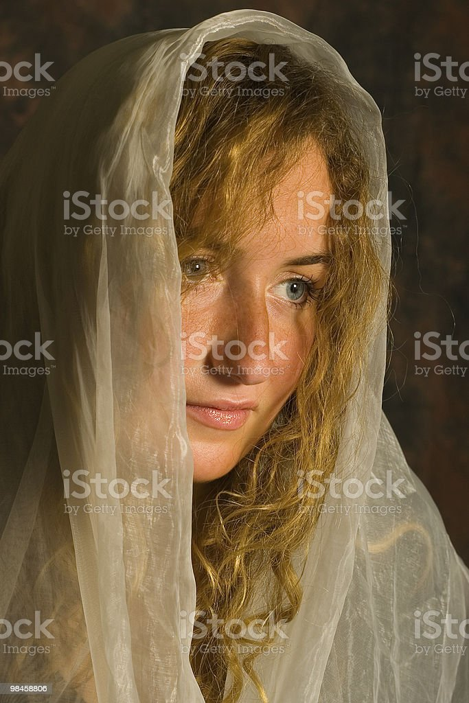 white girl with head covered royalty-free stock photo