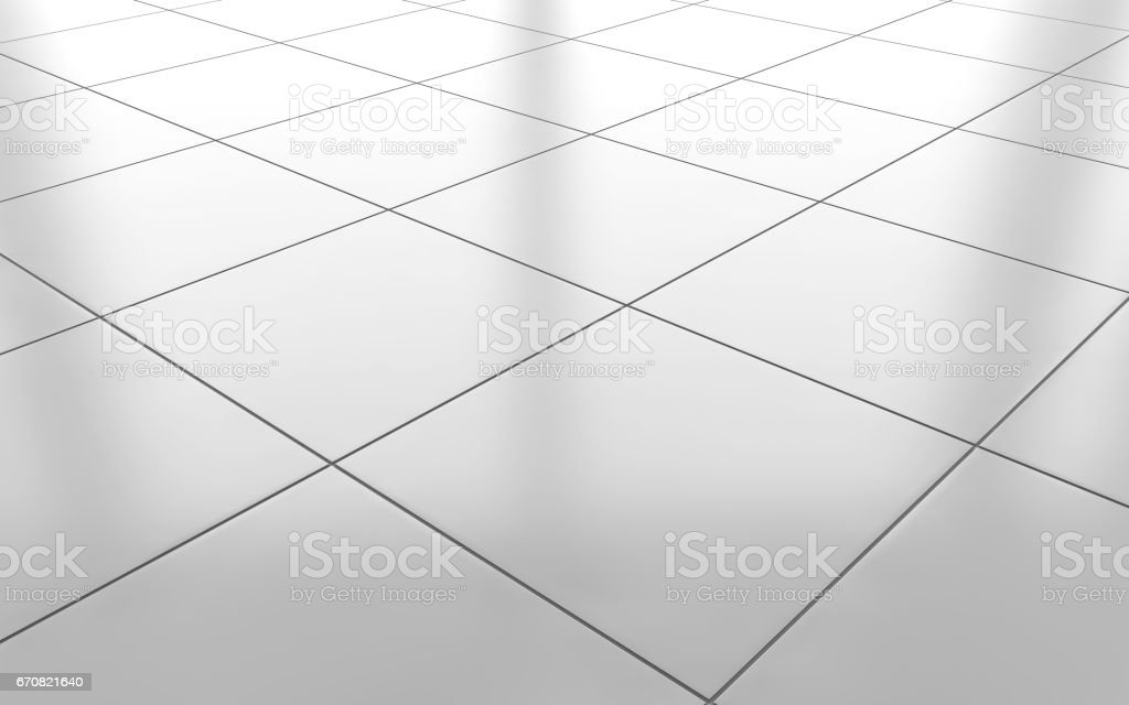 White Glossy Ceramic Tile Floor Background 3d Rendering Stock Photo