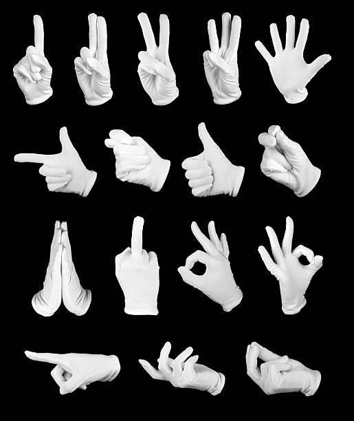 des gants blancs - paire de gants photos et images de collection