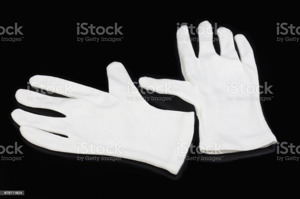 white gloves stock photo