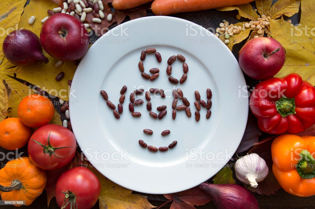 White go vegan plate with various vegetables top view royalty-free stock photo