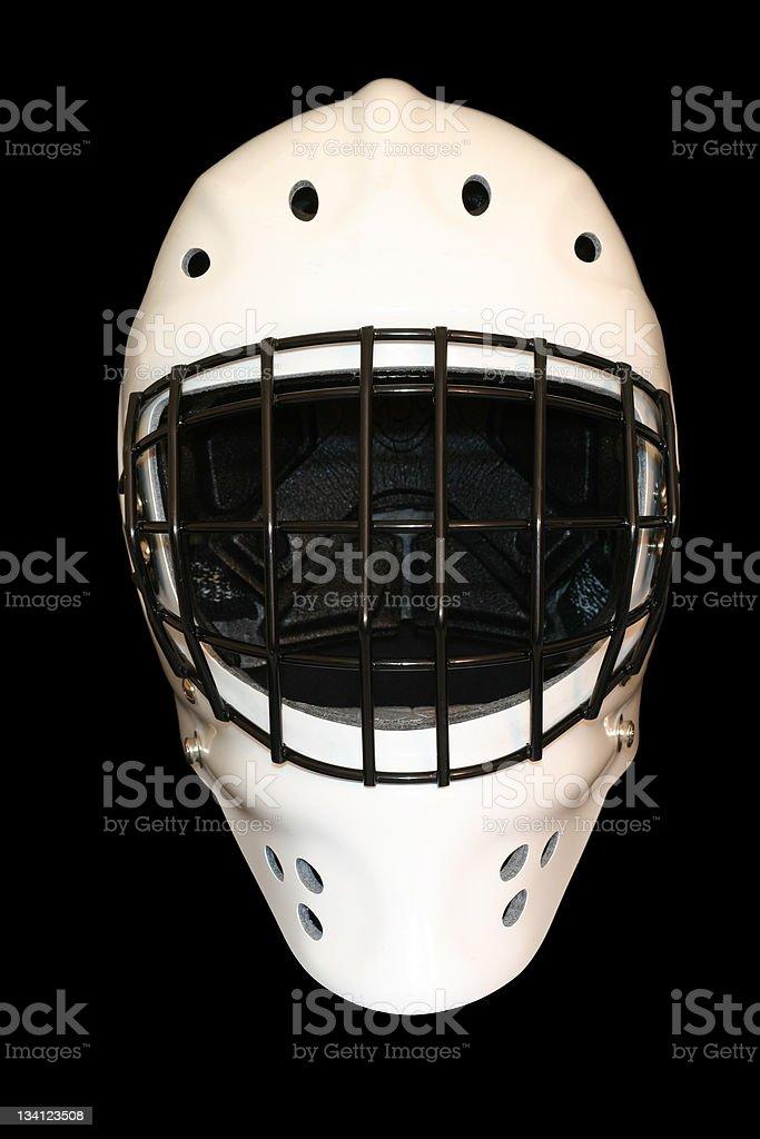 white goalie mask on black stock photo