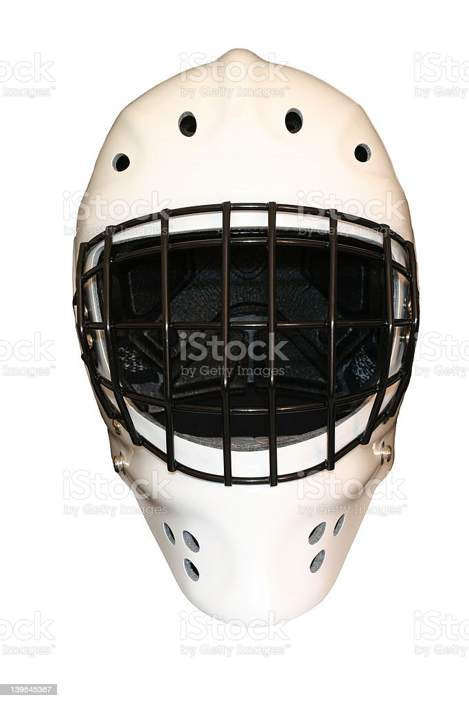 white goalie mask with clipping path stock photo