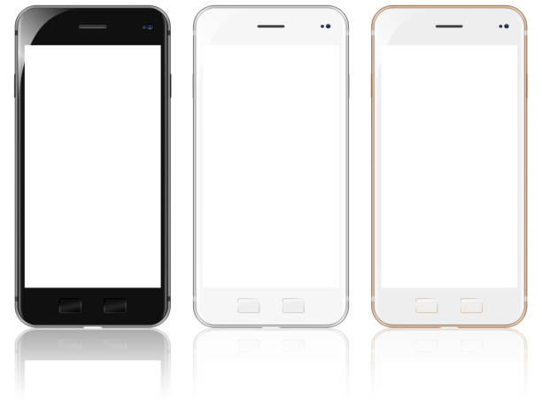 White, Gold and Black Modern Smartphones stock photo