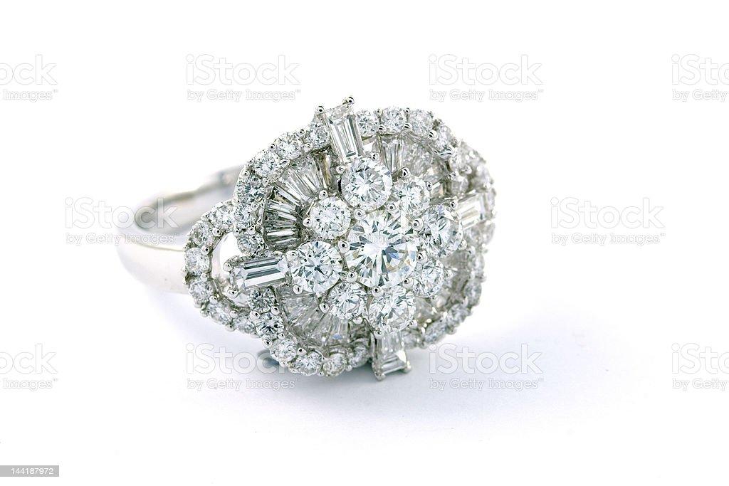 White Gold Diamond Cluster Engagement Ring stock photo